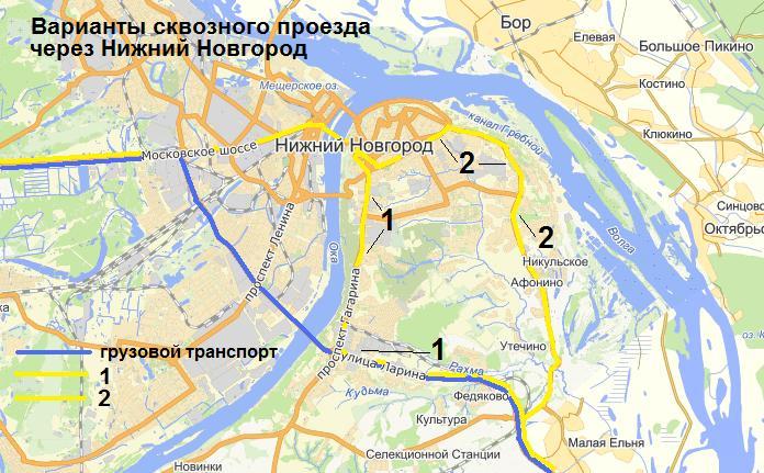 схеме Нижнего Новгорода